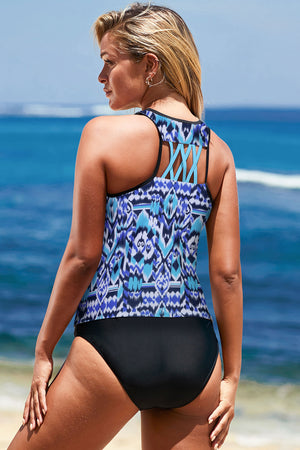Abstract Tankini Swim Top