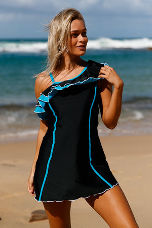 Black Blue Ruffle 1pc Swim Dress with Shorts
