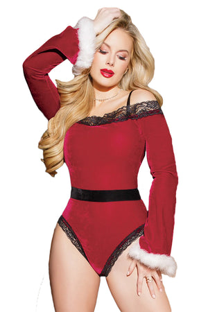 Sexy Black Red Velvet Santa Teddy