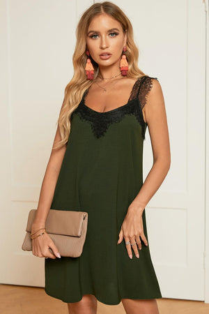 Green V Neck Lace Shoulder Sleeveless Mini Dress