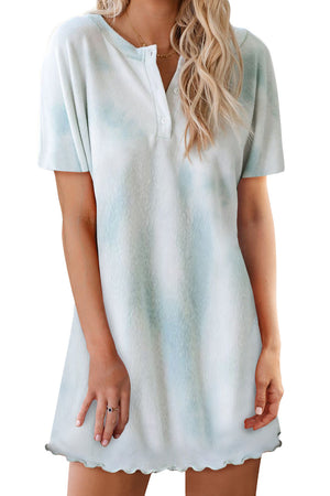Sky Blue Round Neck Button Tie-Dye Nightgown
