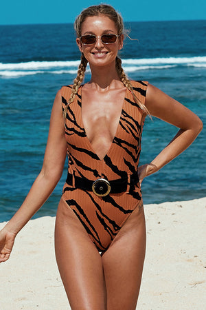 Brown Animal Print Belted One-piece Swimwear