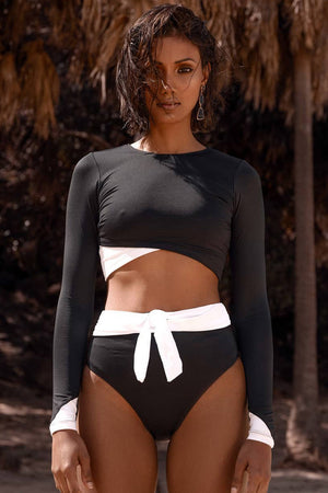 Black Color Block High Waist Bikini