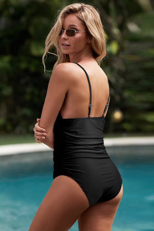 Black Tummy Control Halter One-piece Swimsuit