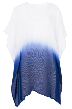 Ombre Blue V Neck Kimono Sleeve Beach Cover up