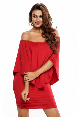 Multiple Dressing Layered Red Mini Poncho Dress