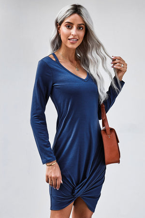 Blue Jersey Twist T-shirt Dress