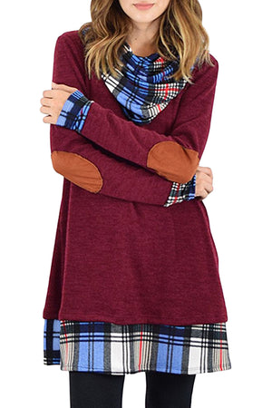 Burgundy Plaid Elbow Patch Cowl Neck Dress