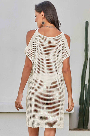 White Slit Shoulder Fishnet Beach Cover up