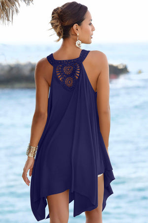 Blue Handkerchief Hem Crochet Back Sundress