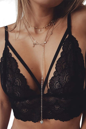 Sexy Scalloped Lace Strappy Caged Lingerie Bra