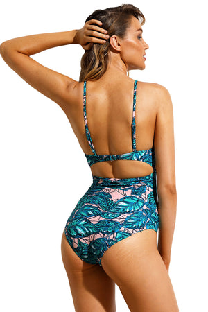 Leafy Print Cutout Tie Front Maillot Swimsuit