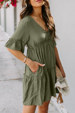 Army Green Pocketed Ruffle Tiered Dress