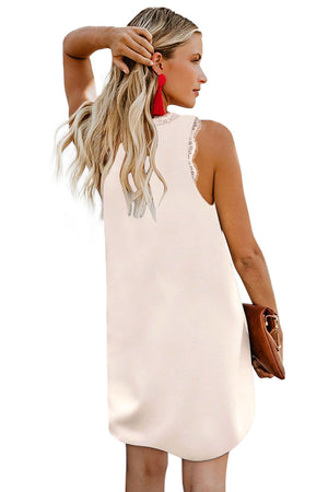 Apricot Eyelash V Neck Sleeveless Shift Mini Dress
