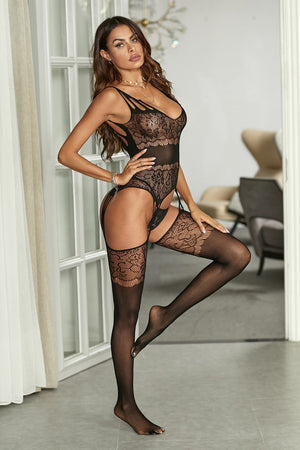 Lace Hollow-out Suspender Bodystocking