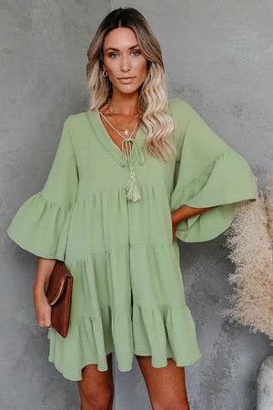 Green Cotton Tiered Babydoll Tunic Dress