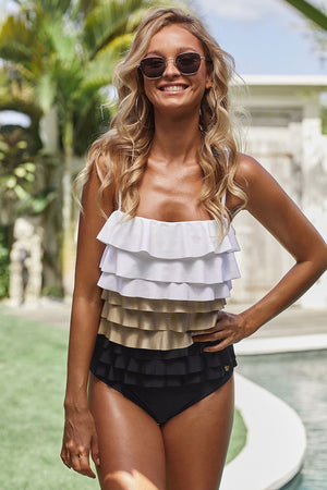 Colorblock Multi-layer Ruffles Hollow-out Back Maillot