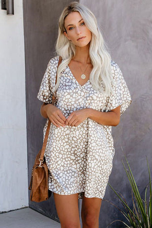 V-Neck Half Sleeve Leopard Casual T Shirt Dress with Pockets