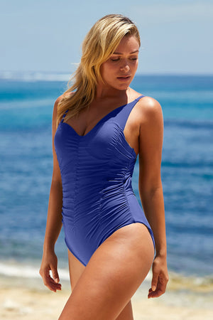 Sky Blue Asymmetric Shoulder Ruched Hollow-out Maillot