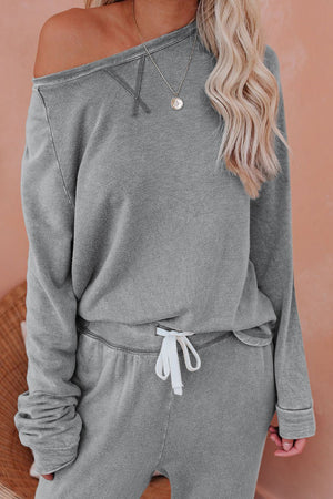 Gray Raglan Sleeve Top And Pants Loungewear Set