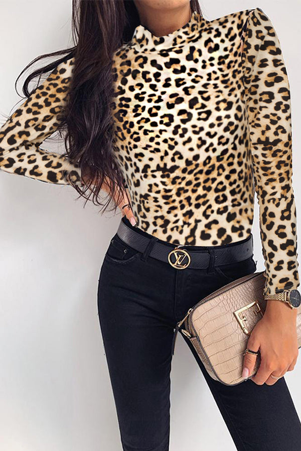 High Neck Leopard Long Sleeve Bodysuit