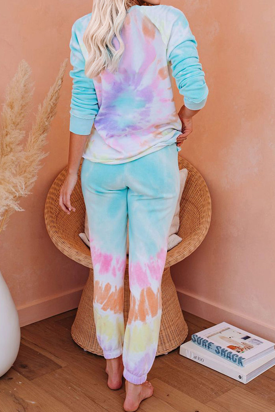 Multicolor Cotton Blend Pocket Tie-dye Loungewear Set