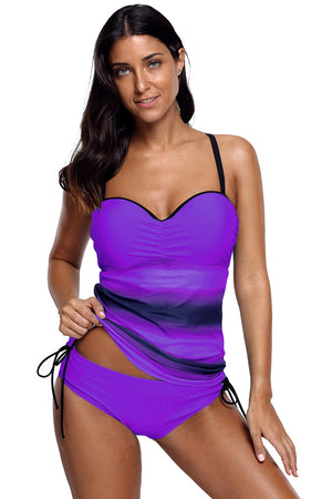 Purple Tie Dye Print Sweetheart Tankini Swimsuit