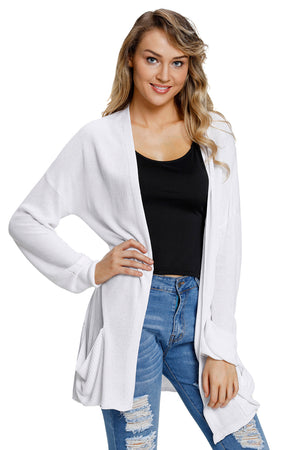 White Lightweight Knit Cardigan with Pockets