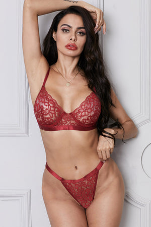 Red Romantic Night Lace Bralette Lingerie Set