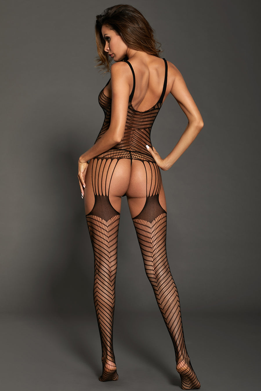 Bowknot Applique Hollow-out Chevron Print Bodystocking