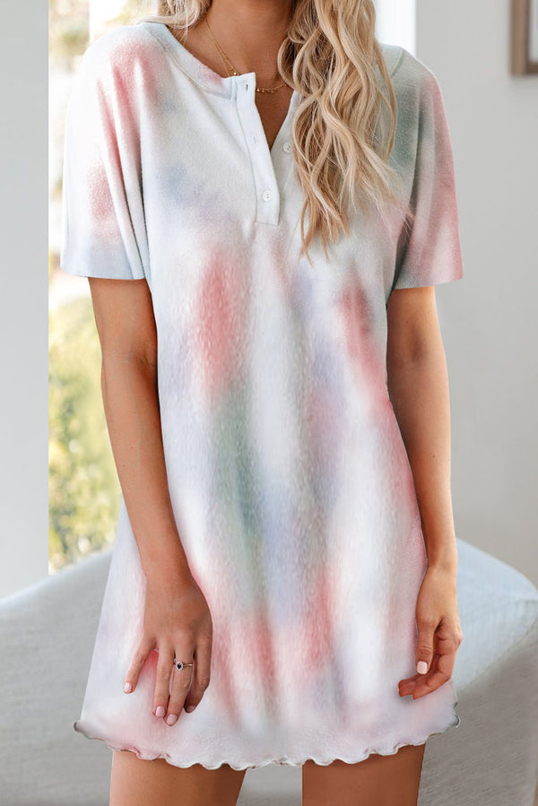 Multicolor Round Neck Button Tie-Dye Nightgown