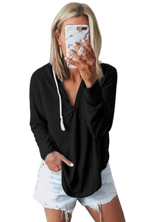 Black Drawstring V Neck Hoodie Loungewear