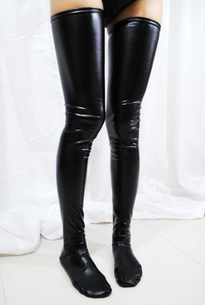 Black Faux Leather WetLook Vinyl Fetish Stockings