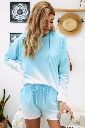 Sky Blue Dip Dye Hooded Lounge Sweatshirt Shorts Set