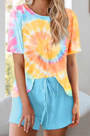 Yellow Tie Dye Printed Short Lounge Set