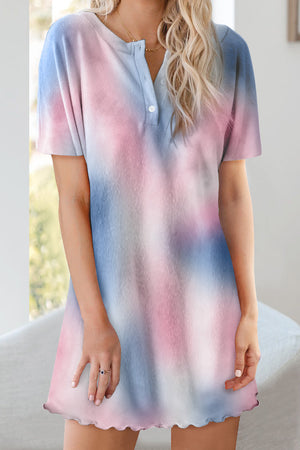 Blue Round Neck Button Tie-Dye Nightgown