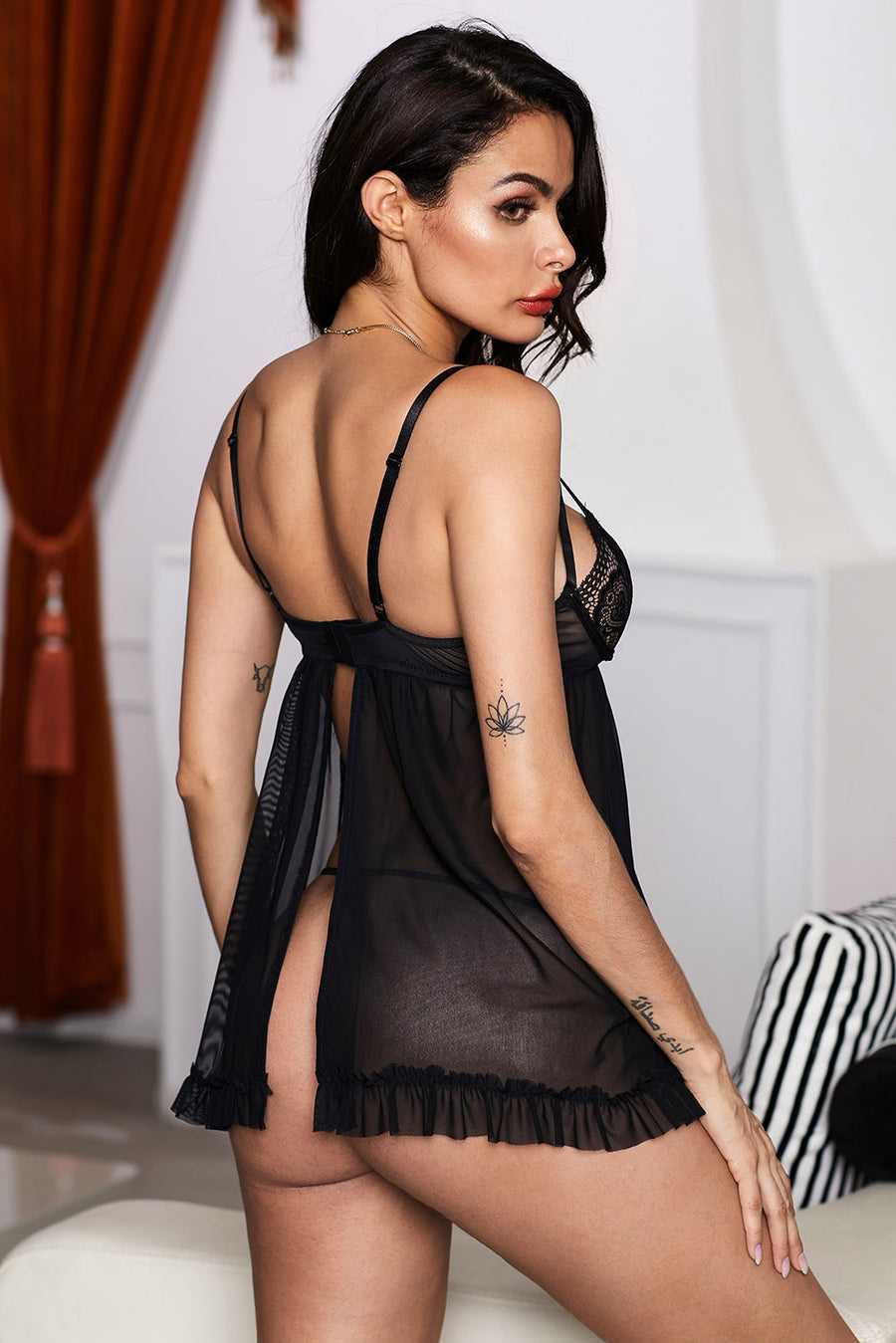 Strappy Lace Mesh Babydoll with Split Back