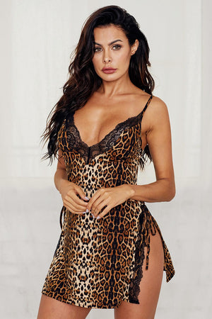 Leopard Animal Print Babydoll Lingerie Dress
