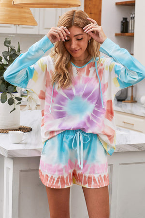Multicolor Dip Dye Hooded Lounge Sweatshirt Shorts Set