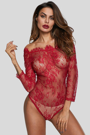 Burgundy Long Sleeve Embroidery Lace Bodysuit