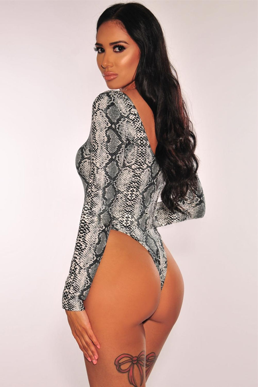 Gray Snake Print Long Sleeves Bodysuit