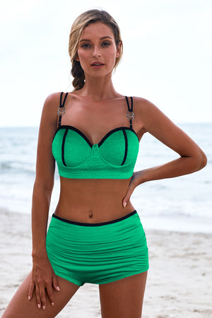 Green Push Up Full Cup High Waist Bikini