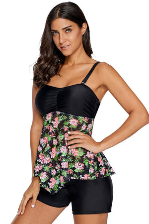 Floral Lacy Skirted Bandeau Tankini Top