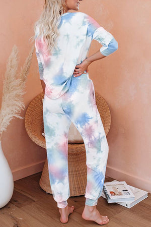 Multicolor Tie Dye Knit Long Sleeve Joggers Set