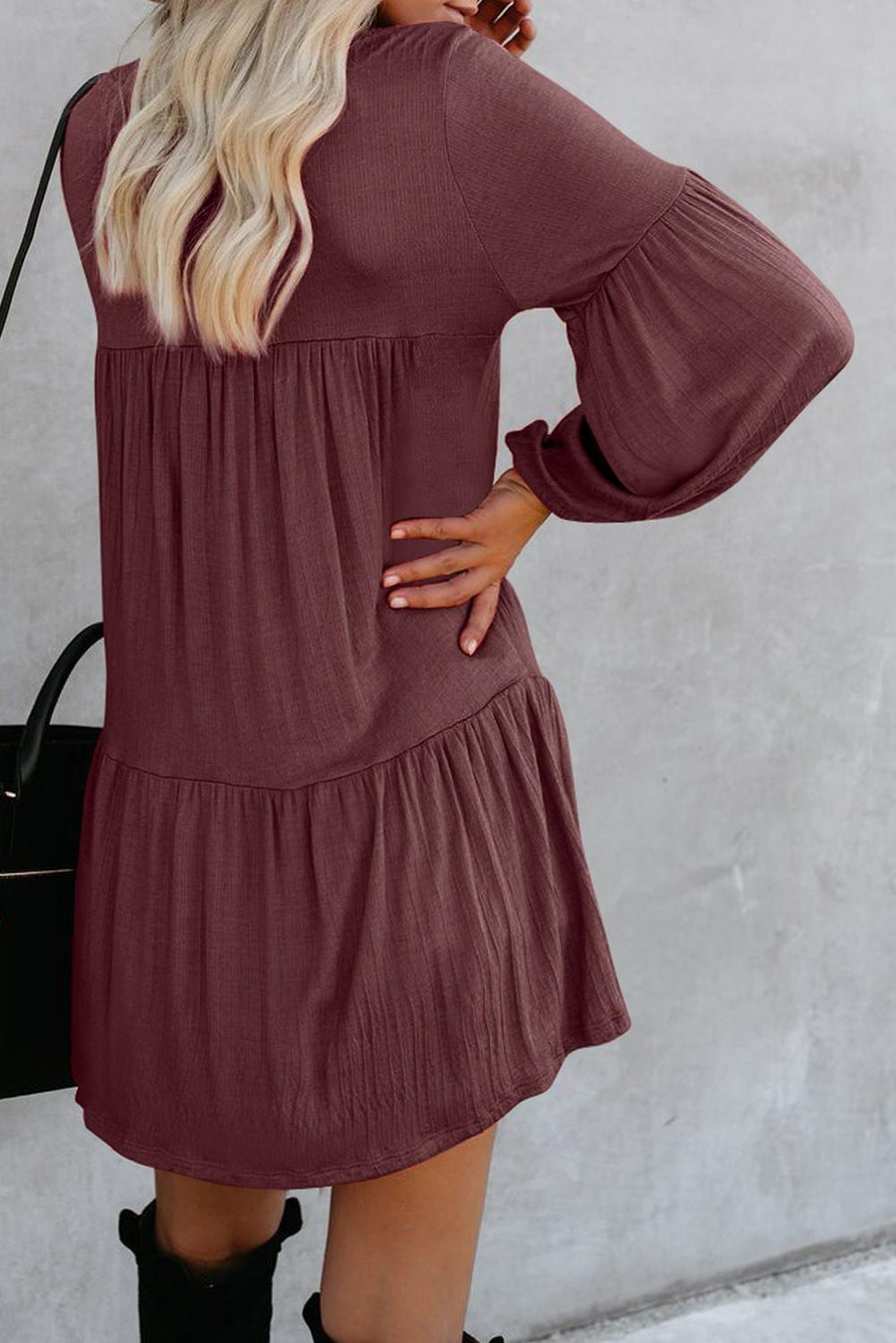 Red Wanderlust Pocketed Tiered Tunic
