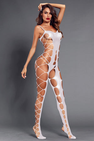 White Sexy Fishnet Big Holes Open Crotch Body Stocking