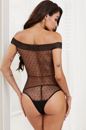 It Was You Black Sheer Polka Dot Bardot Bodysuit