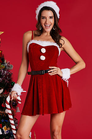 Red Diamond Velvet 4pcs Christmas Costume Set