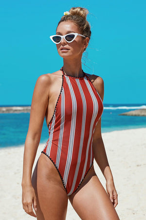 Red Stripes Open Back One-piece Swimwear