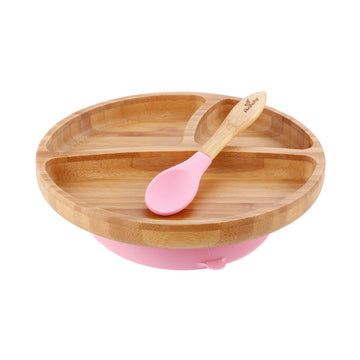 Toddler Bamboo Suction Plate + Spoon - Pink